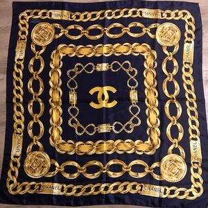 Vintage CHANEL Scarf 31 Rue Cambon Paris dark blue
